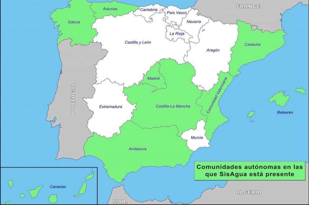 Presencia SisAgua (sistema de facturación de recibos de Agua) en diversas Comunidades Autónomas de España